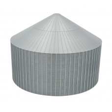 "72' HO-Scale Galvanized Steel Stiffened ""Half"" Grain Bin Kit (2.66"" Corrugation)"